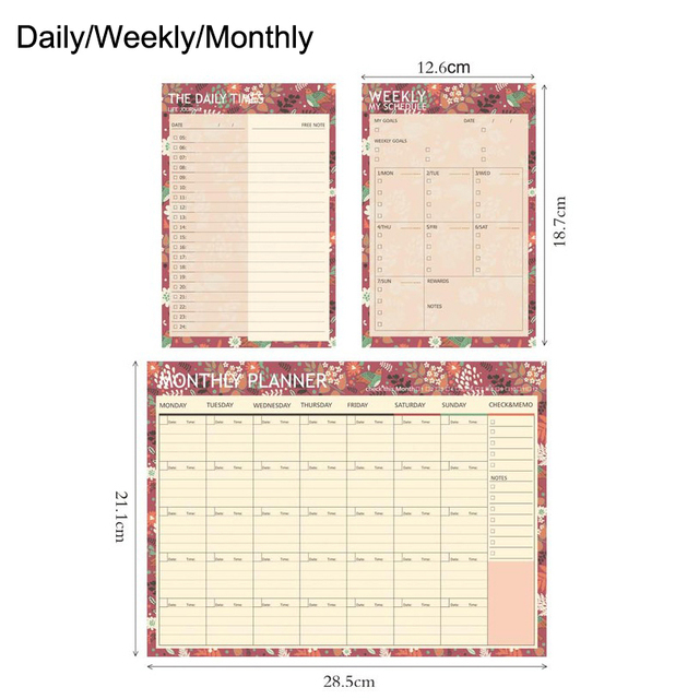 Cute Flower Daily Weekly Monthly Planner School Kawaii Bullet - daily monthly planners