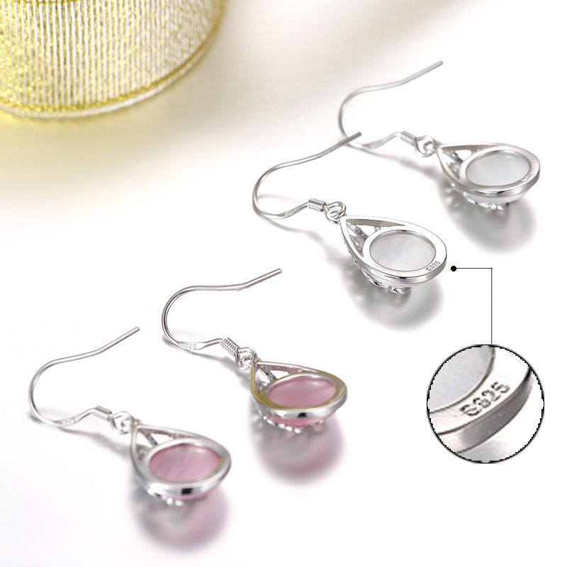100 925 sterling silver fashion natural opal stone water drop ladies drop earrings jewelry female gift women drop shipping in Drop Earrings from Jewelry Accessories