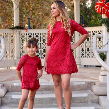 Family Dress Mother Daughter Dresses Summer Lace Wedding Evening Party Elegant Dress Mom and Daughter Baby Matching Clothes