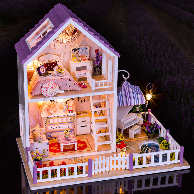 Ingbaby Miniaturas 1:12 Dolls House Furniture Accessories Led Light  Furniture DIY Wooden Dollhouse Creative