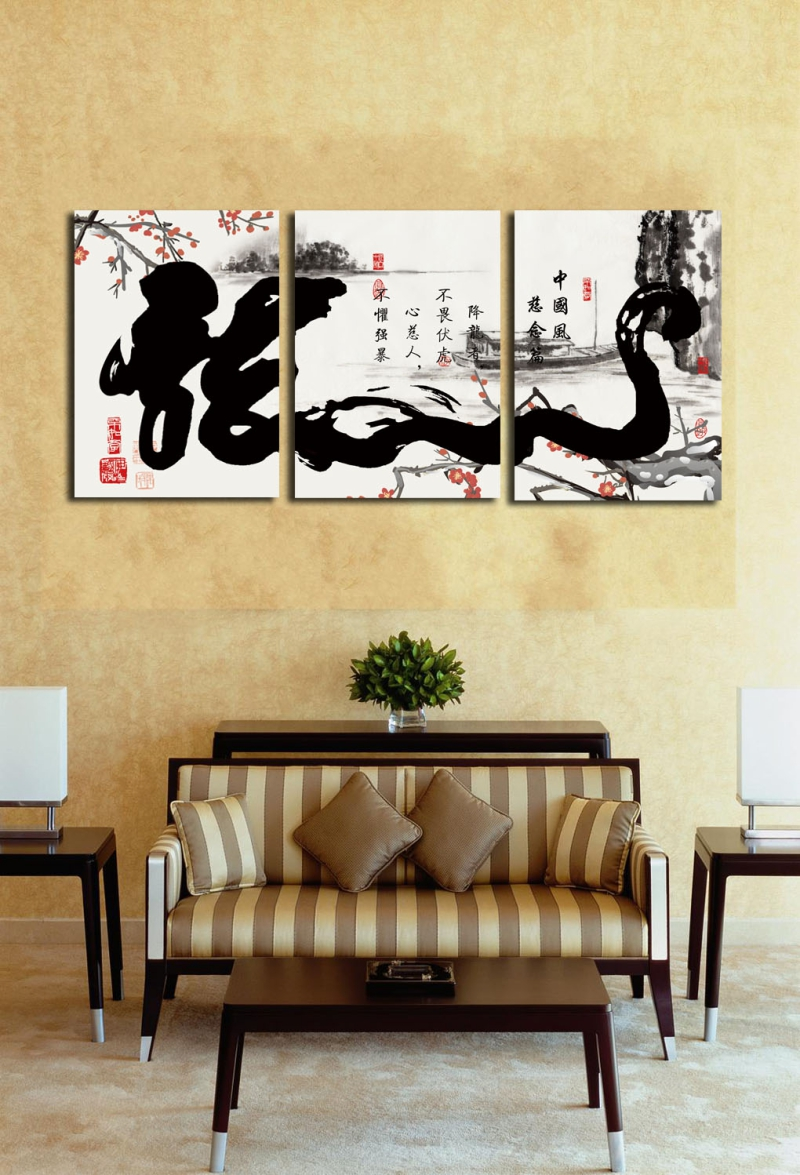3 Panels Chinese Calligraphy Writing \
