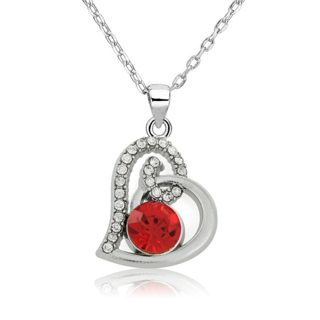 my shape Red white Crystal Stone in Hollow Heart Pendant Silver Plated Necklace Perfect for Your Girlfriend Wife Women Gift