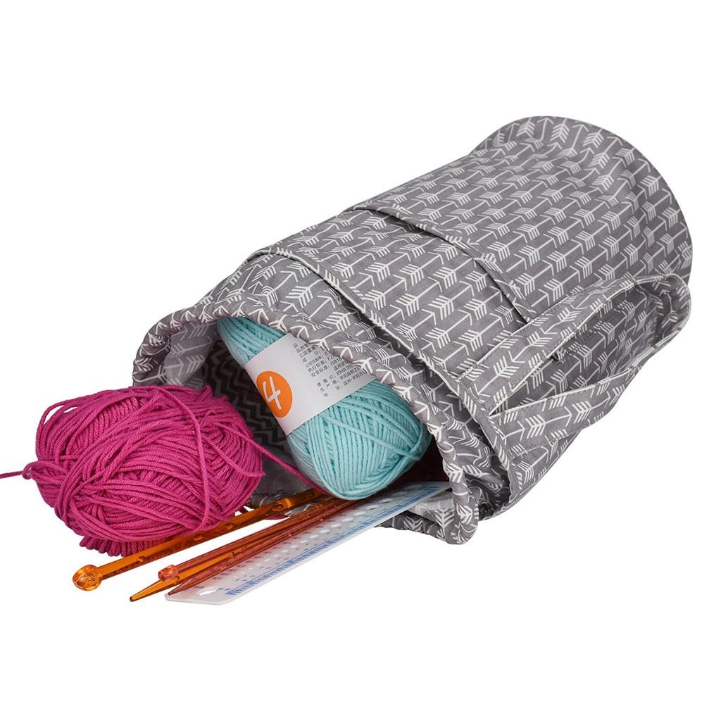 Knitting Bag Yarn Storage Craft Tote Inner Divider For Wool Crochet Needles Storage Hand Tool Bag Travel Makeup Organizer Pouch Kitchen Storage & Organization