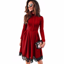 2017 Autumn Women's Elegant High Quality Stand Lace Stitching Dress Slim A-Line Long Sleeve Party Dresses