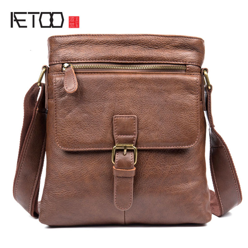 AETOO Retro casual first layer of leather shoulder bag wild men handbags leather messenger bag famous brands first layer of leather woman bag autumn and winter fashion shoulder bag casual mobile messenger bag