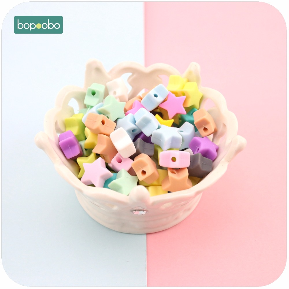 Bopoobo Silicone Beads Star Shape 10pcs 14mm Food Grade Teether BPA Free Ecofriendly Beads Bracelet Diy Jewelry Baby Teether