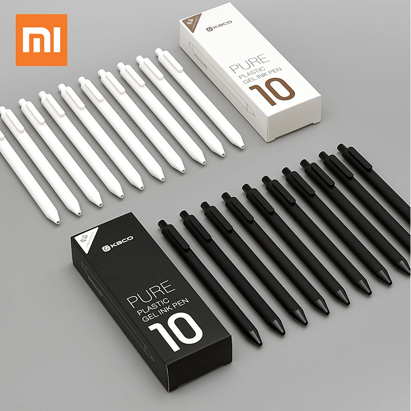 10pcs lot Xiaomi KACO Sign Pens 0 5mm Pen Signing Pen Black White ABS Plastic Smooth Ink For Student School Office worker
