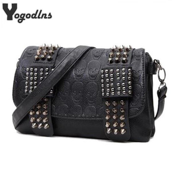 2018 new fashion Women Black Leather Messenger Bags Fashion Vintage Messenger Cool Skull Rivets Shoulder Bags sac a main bolsa