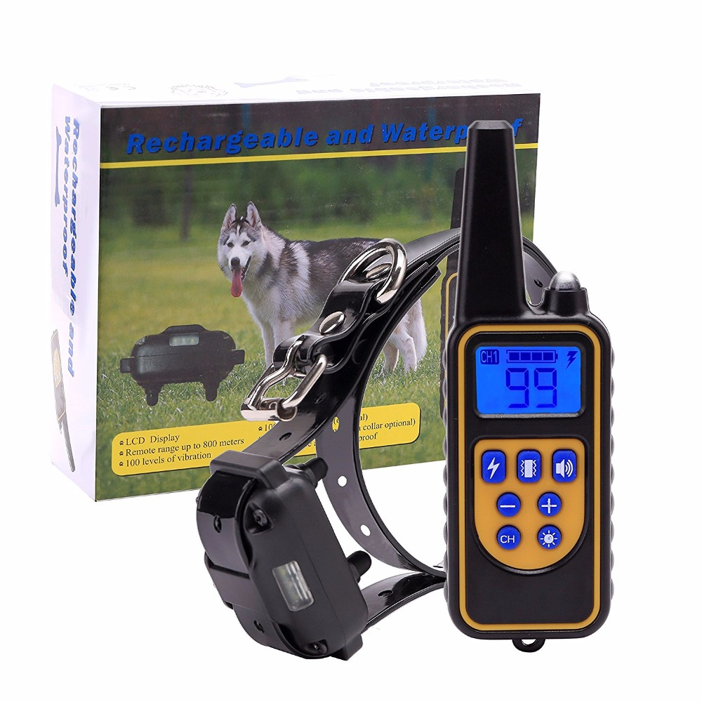 New Remote Dog Training Collar with 800 M Range Rechargeable and IPX7 Rainproof Dog Shock Collar with Beep Vibration and Shock dog care training collar