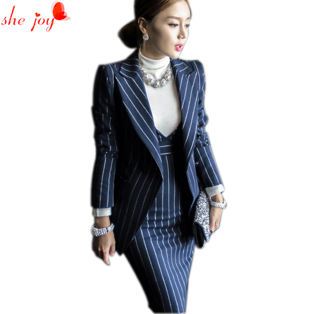 Office Lady Dress Suit Set 2pc Blazer   Dress Strip Women's ...