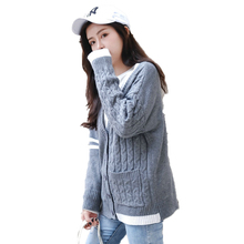 Fashion Woman Casual Cardigan Sweater Gray Textured Knitted Cardigans Women Leisure Ripple Knitwear Single Breasted Sweaters