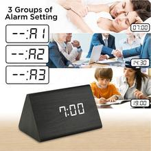 Home Decor Digital Sound Voice Control Alarm Clocks Wood LED Light Time Temperature Display Wooden Alarm Clock