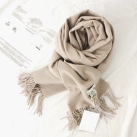 European Classic High grade Pure Wool Scarf Winter Woman Cashmere Scarf,Dual purpose solid color long thicker thermal shawl