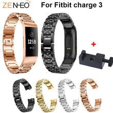 Womens bracelet for Fitbit Charge 3 watch Bands Metal Wristband Watches Strap replacement smart Accessories