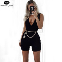 Newasia Plunge Katoen Jumpsuit Plus Size Sexy Bodysuit Vrouwen Playsuit Body Feminino Overalls Dames Rompertjes Womens Jumpsuit 2018(China)