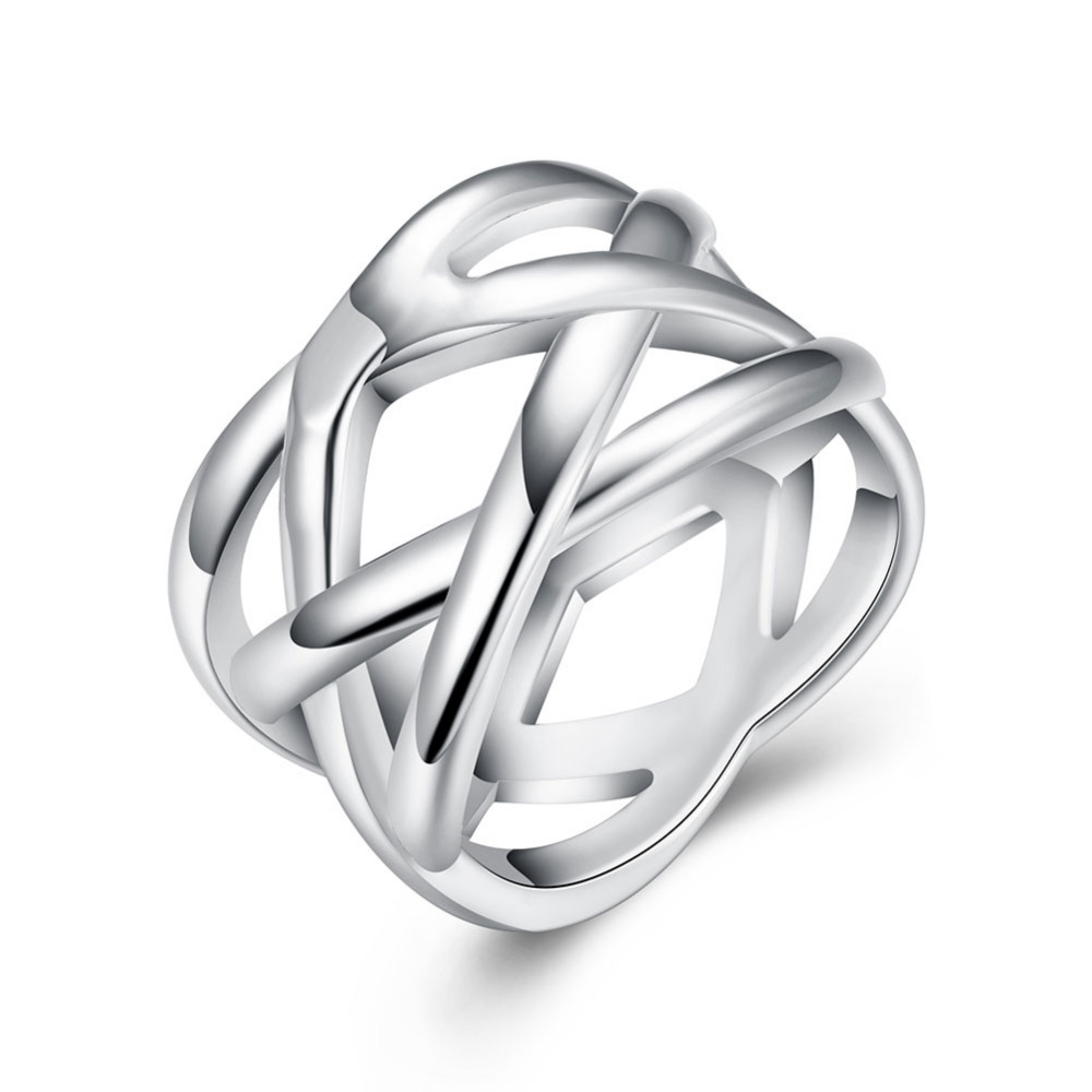 Top quality Silver Plated & Stamped 925 fish vine wide cross rings for women finger ring for Christmas gift Wholesale