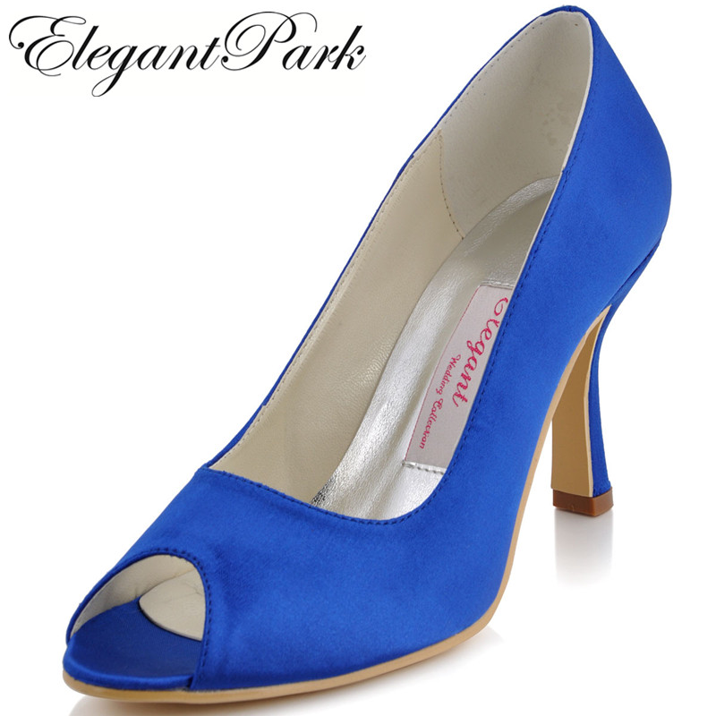 Woman Shoes EP11017 Blue Peep Toe High Heel Satin Bride Bridesmaids Lady Wedding Bridal Dress Prom Formal Pumps White Ivory fashion white lady peep toe shoes for wedding graduation party prom shoes elegant high heel lace flower bridal wedding shoes