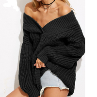 Warm Winter Fashion For Women Sweaters Knitwear Off The Shoulder Loose Long Sleeve V Neck Drop
