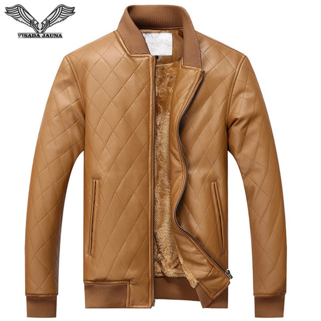VISADA JAUNA 2017 Casual Nuevo Mens Chaquetas de Cuero de Imitacion de Piel  de Invierno Hombre Jacket Fashion Cotton Coats N5839 d86ca22195cc
