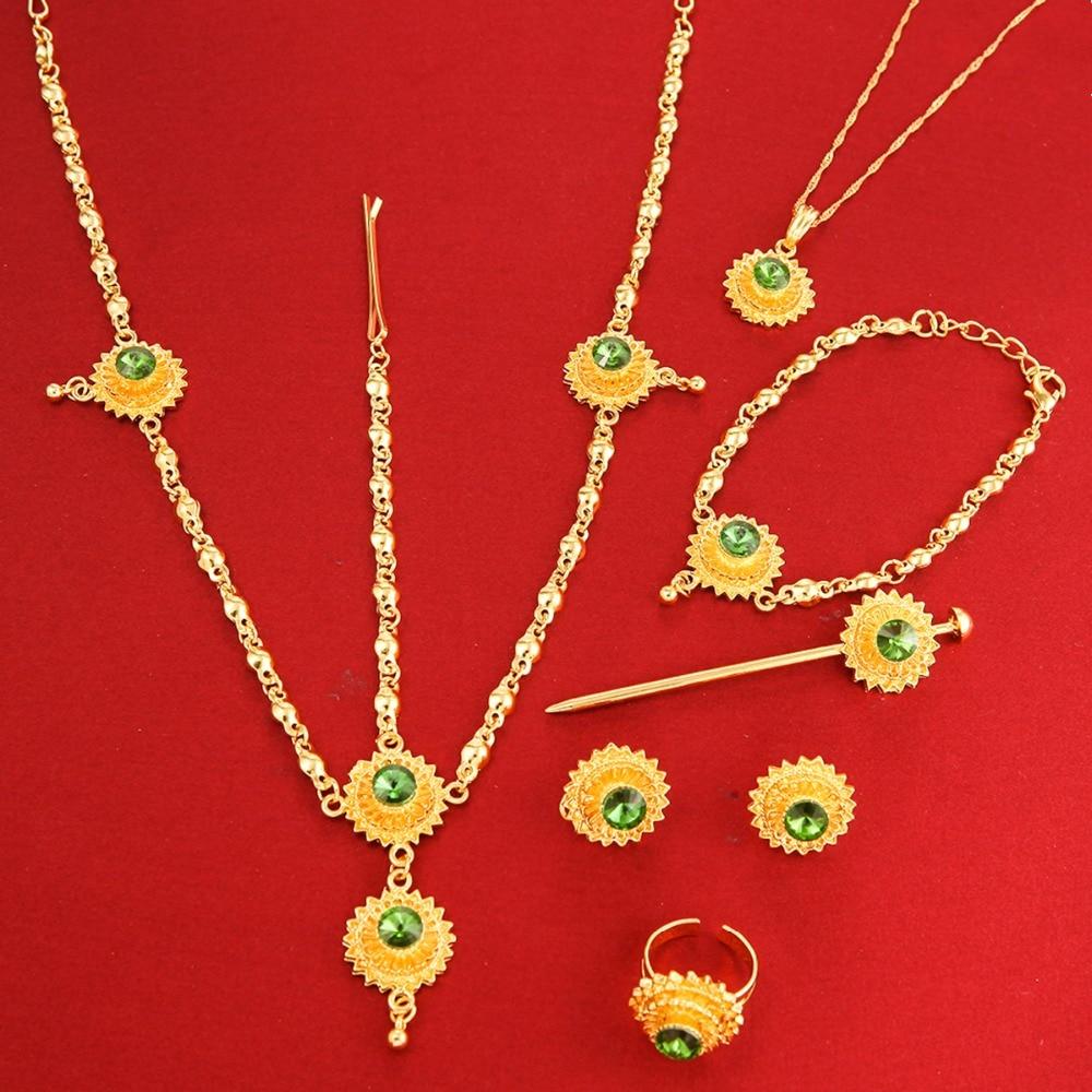 24k Gold Color Ethiopian Jewelry Eritrea Habesha Africa Bridal Wedding Set