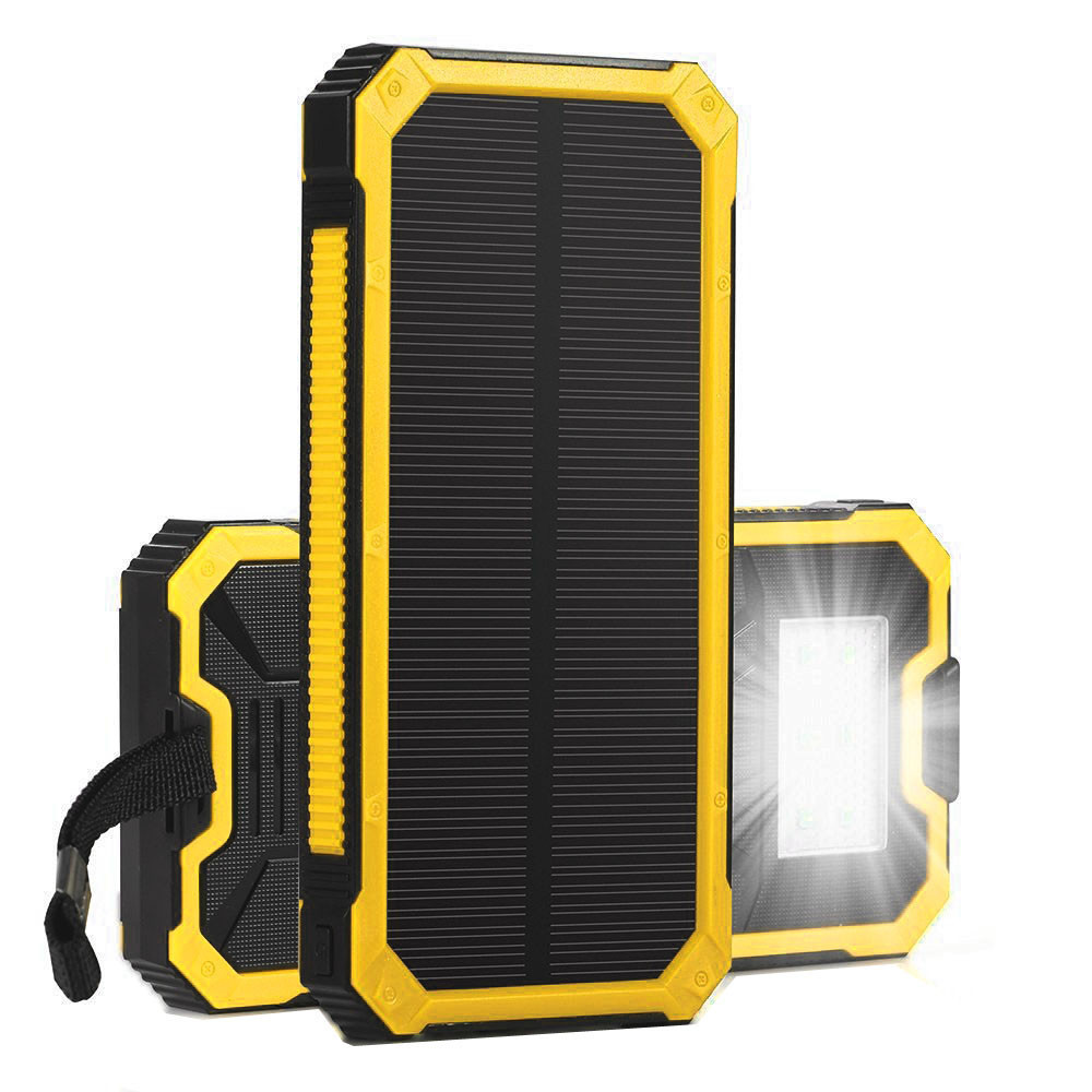 Dropship Universal Portable 8000mAh External Battery Charger For Mobile Phone with LED Emergency lights Solar Power Bank kit