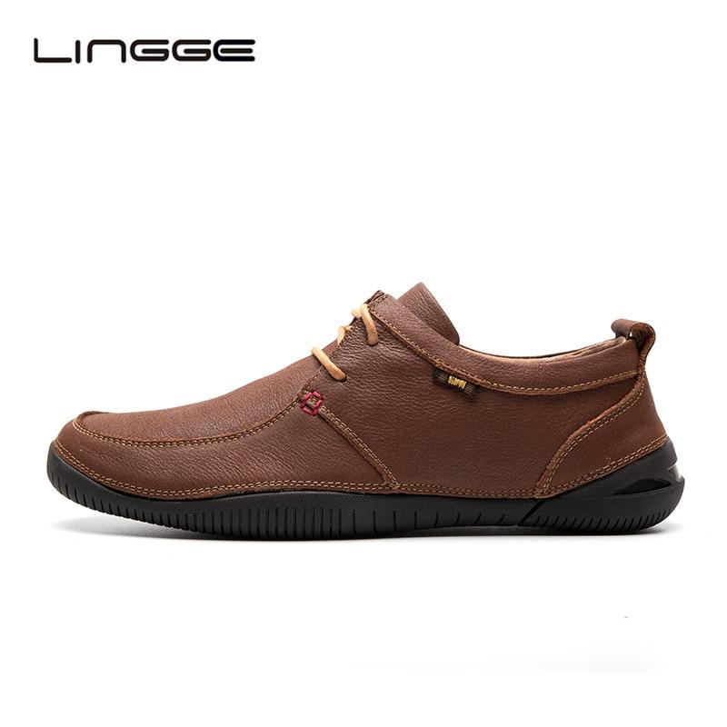 LINGGE Men's Oxfords Genuine Leather Men Flat Shoes Lace-Up Round Toe Rubber Shoes For Men #5253-2/1