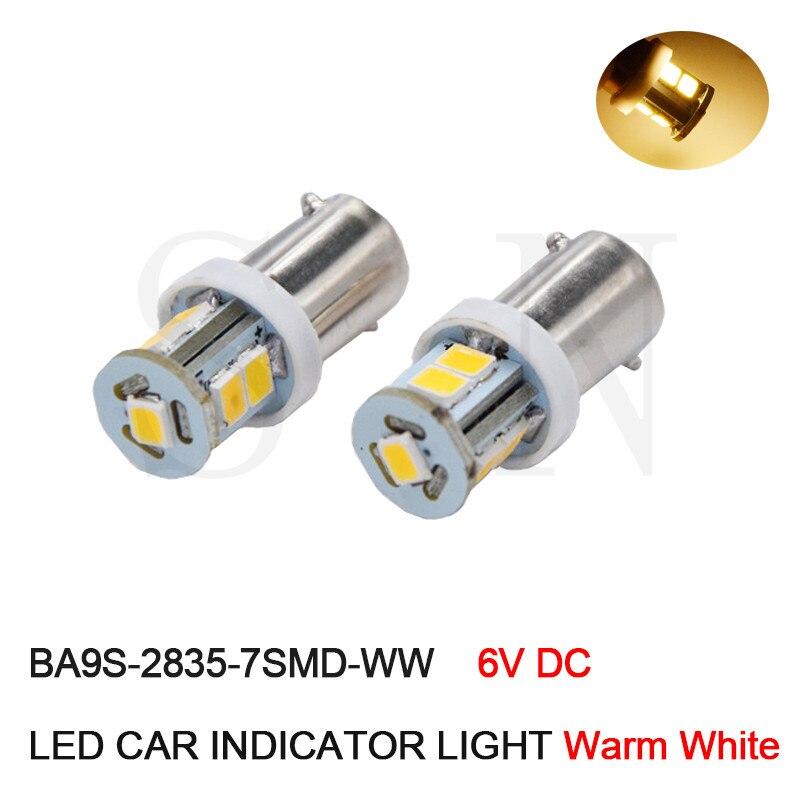 10Pcs High Quality 6V DC BA9S LED Instrument lights,BA9S T11 LED Car Signal Light,LED Indicator Light,Pilot Lamp Warm White