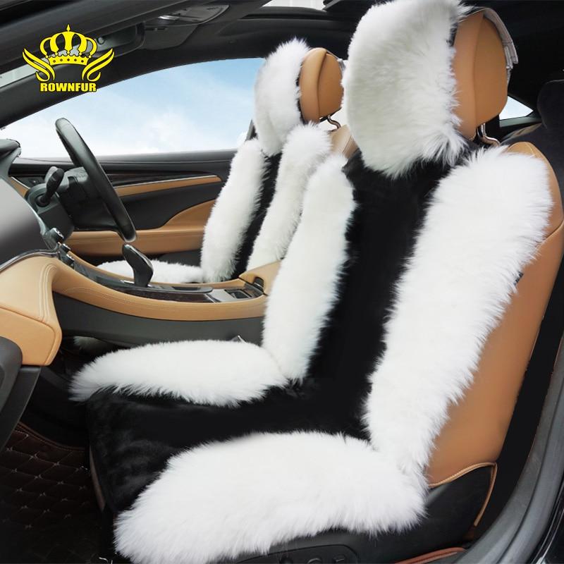 Rownfur Luxury Australian Sheepskin Car Seat Covers Universal Auto Seat Cushion Winter Interior Protect Car Seats