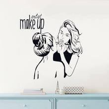 Make Up Shop Wall Sticker Artist Cosmetic Beauty Salon Decoration Vinyl Art Poster Mural W553