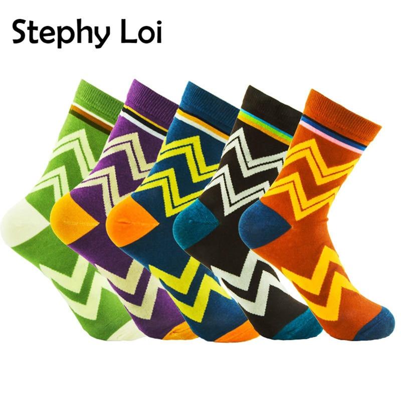 5 Pairs/ Lot Men Cotton Crew Socks Wavy Striped Casual Harajuku Designer Brand Fashion Novelty Art Funny Colorful Pack