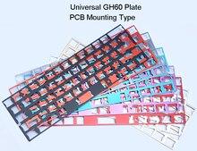 Universale GH60 Piastra Piastra In Alluminio Anodizzato per Montaggio SU CIRCUITO STAMPATO e Stabilizzatori Supporto ISO ANSI per 60% Tastiera FAI DA TE