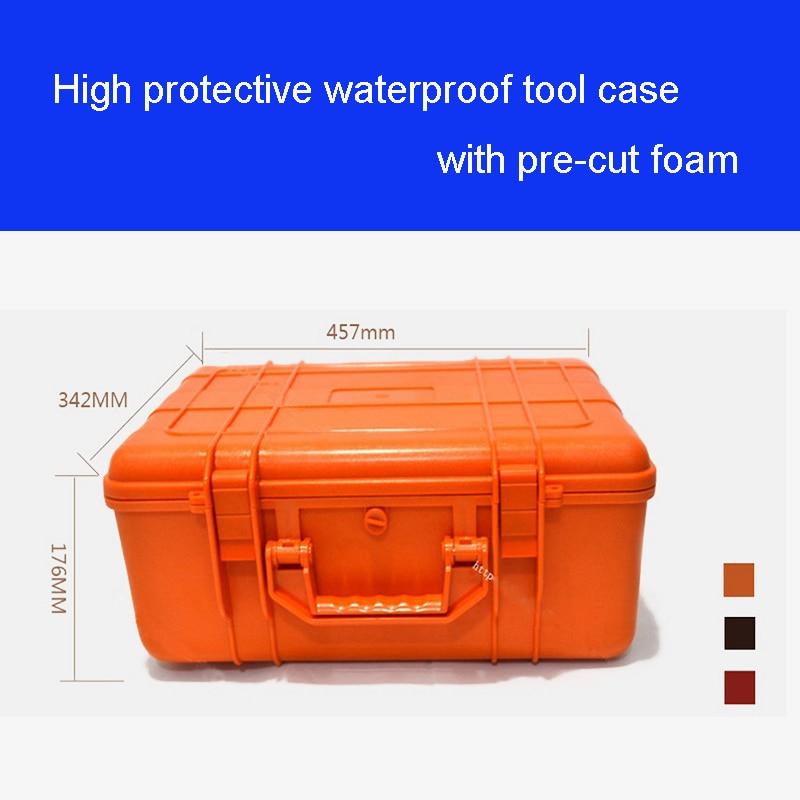 Kvaliteetne tööriistakasti tööriistakast löögikindlast veekindlast ümbrisest 43 * 29 * 16CM turvaseadmete mõõteriistakast eelnevalt lõigatud vahuga