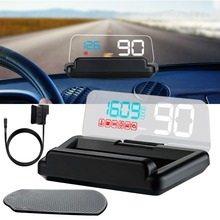 Car Hud C500 Head-up Display Auto OBD2 Speed Stereo Projection Detector KMH MPH RPM Digital Driving Displayer Speed RPM Reminder xycing x5 3 inch hud car head up display obd2 vehicle driving speedometer car windscreen projector kmh mph display speed alarm