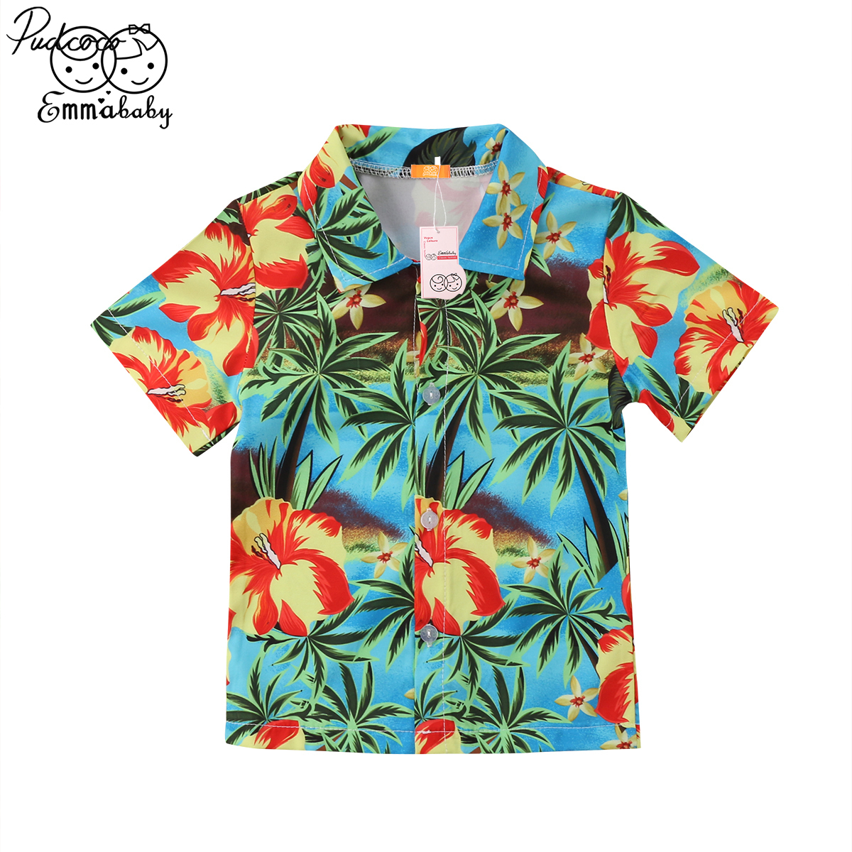 Boys Shirts Hawaiian-Style Short-Sleeve Flowers Print Cotton Summer Casual 1-5years Helen115