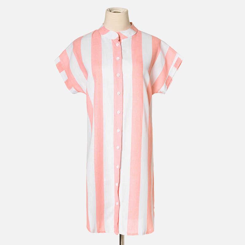ストライプは-ネックロング女性のシャツドレス半袖ルーズボタンカラーマキシシャツ女性 2019 夏の女性服