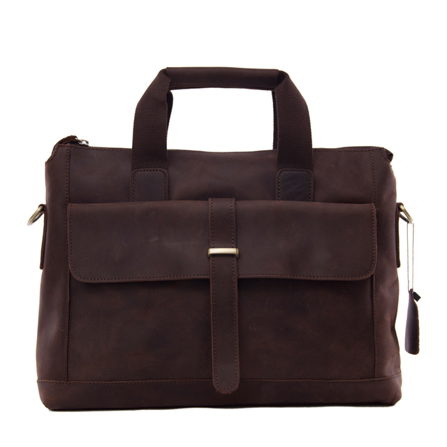 8c9569ffca18 ROCKCOW Antique Style Genuine Leather Mens Briefcase Messenger Bag Laptop  Shoulder Bag 9075