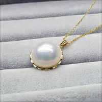 free shipping 19MM AAA White Real Mabe Pearl Pendant Necklace 18 Solid Yellow Gold