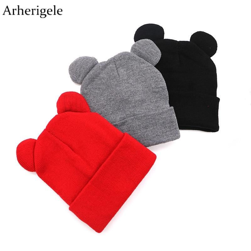 Arherigele Hat Female Cute Ears Shape Cap Warm Winter Cap Hat for Women Girls's Braided Knitted Hat Cap   Skullies     Beanies   Gorro