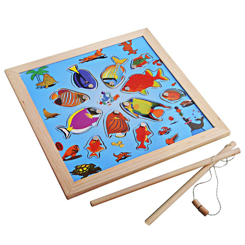 Fun Wooden Puzzle Magnetic Fishing Toy Fishing Board Game Toy With 11pcs Cartoon Style Fish Model Educational Toy for Children