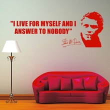 I Live For Myself And Answer To Nobody English Quotes Wall Mural Steve Mcqueen Art Design Living Room Decor Y-827