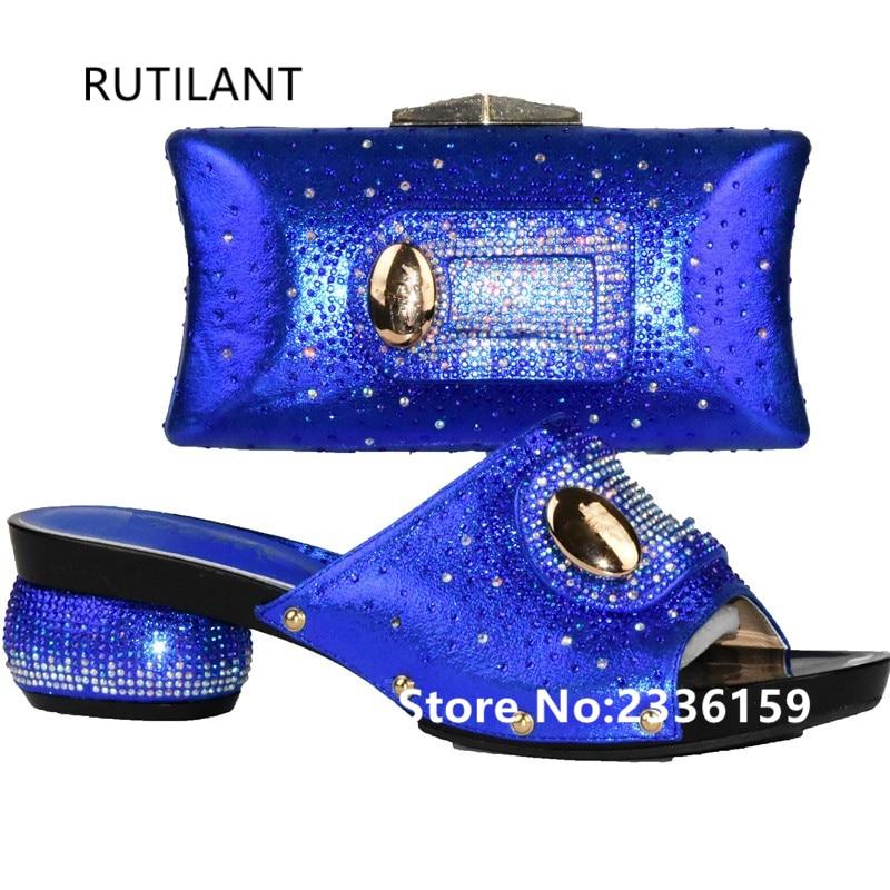 Le Avec Qualité Et Ensemble Pour Italien Strass Mode Arrivée De bleu or rouge Nouvelle Noir Bonne Sac Chaussures Décoré Correspondant Mariage vert xP8BZqYn