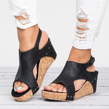Women Sandals Peep Toe Wedges Shoes With 7CM High Heels Women Shoes Summer Sexy Platform Sandals Female Wedge Sandalias Mujer(China)