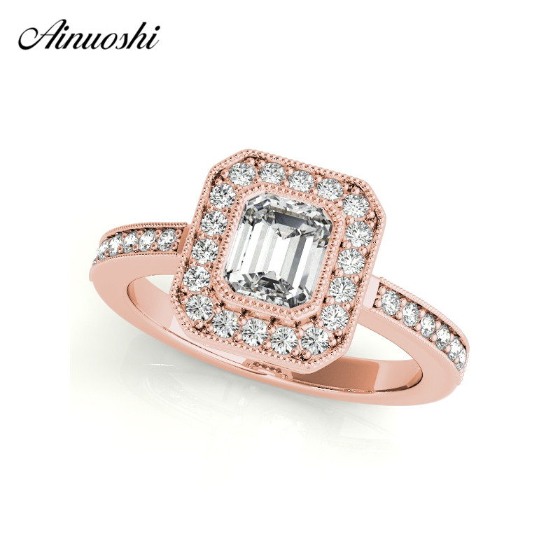 AINUOSHI 925 Sterling Silver Women Ring Rose Gold Color Halo 0.5ct Emeralded Cut Ring Aniversary Jewelry anillo de bodas ainuoshi trendy 925 sterling silver women wedding engagement ring halo 0 5ct emeralded cut ring aniversary gifts anillo de plata