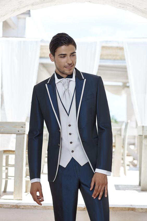 2017 Latest Coat Pant Designs Navy Blue Satin Men Suit Slim Fit 3 Piece Italian Tuxedo Custom Groom Prom Suits Terno Masculino S
