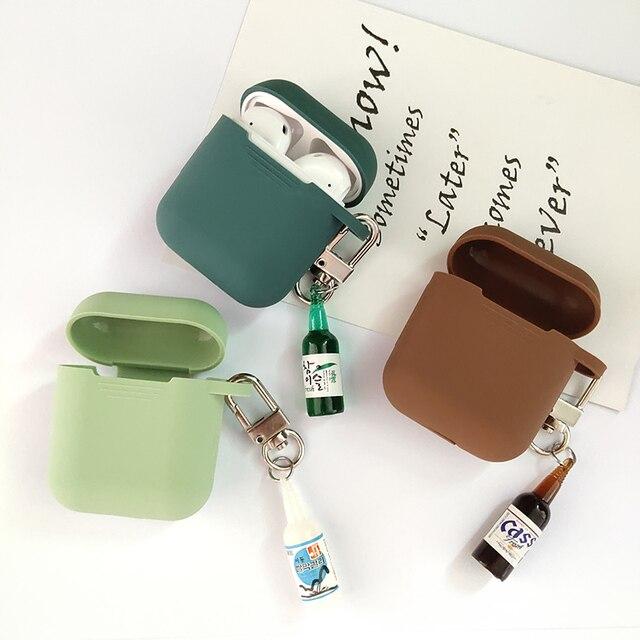 קוריאני חמוד באר עיצוב בקבוק סיליקון אוזניות מקרה עבור אפל Airpods אביזרי Bluetooth אוזניות מגן כיסוי מפתח טבעת