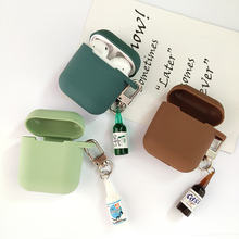 Coreano bonito cerveja decoração garrafa silicone fone de ouvido caso para apple airpods acessórios fone de ouvido bluetooth capa protetora anel chave