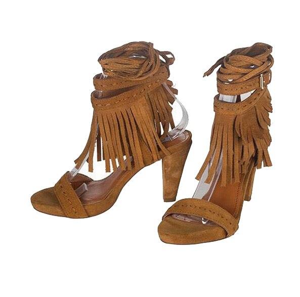 2015 fringe sandals knee high heel gladiator sandals boots