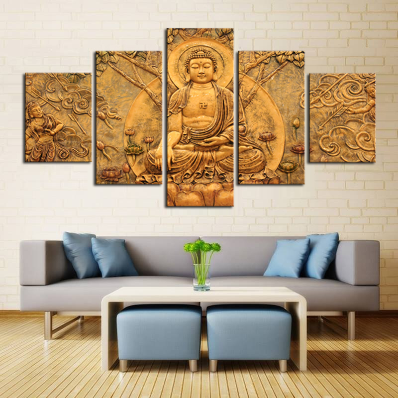 5 Pieces Canvas Abstract Printed Buddha Painting Face Wall ...