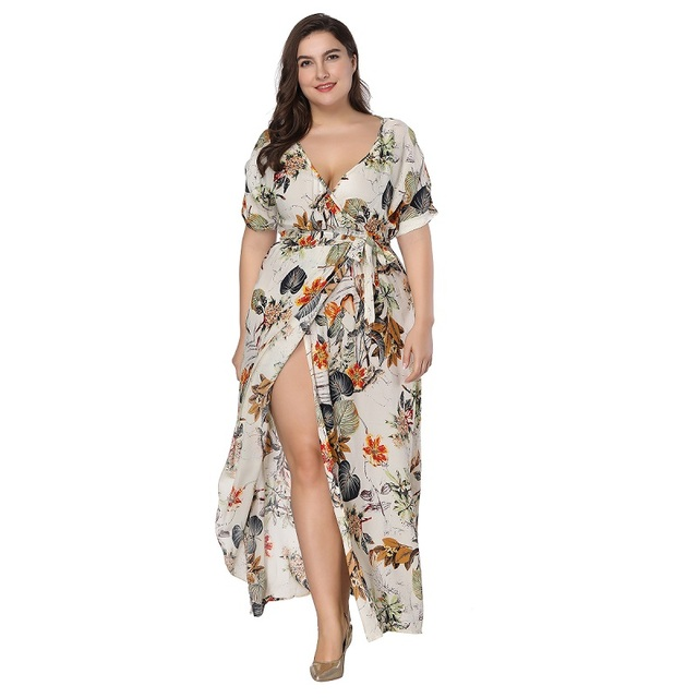 939d7383785 Summer women boho floral printed plus size maxi dress Bohemian v neck short  sleeve high waist side split wrap dress Beach dress