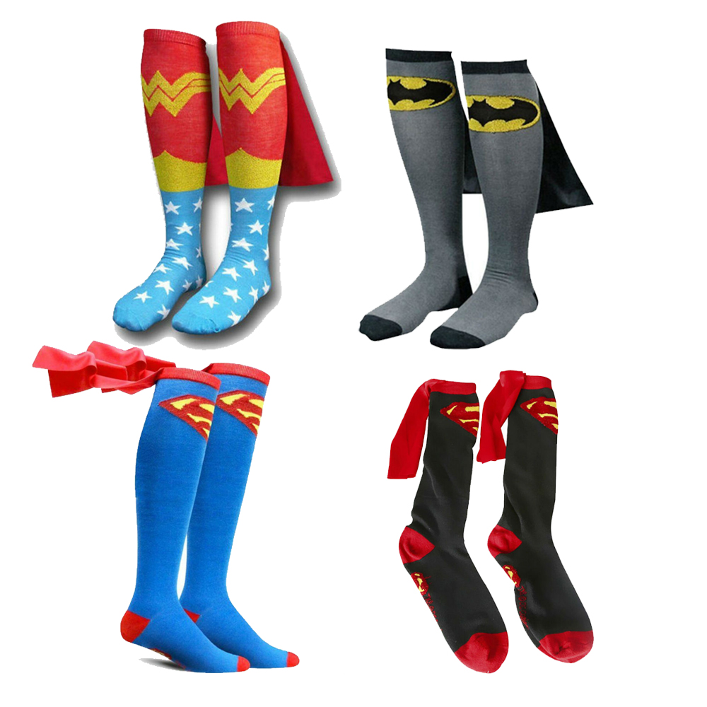 Mens Cotton Socks MARVEL Super Hero Superman Batman Knee High With Cape Stockings Cosplay Costume Socks Props Gifts